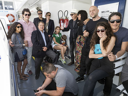 Nabil Canaan, Mustapha Idbihi and the family of Leila Alaoui on the ferry to Ile des Embiez.